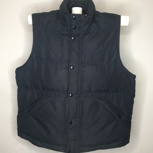 Men's L Puffer  Navy Blue Vest Zip & Snap Front